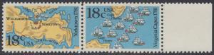 USA Michel 1511-1512 / Scott 1937-1938 postfrisch horiz.PAAR RAND rechts - 200. Jahrestag der Schlachten von Yorktown und vor der Chesapeake Bay