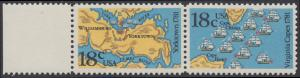 USA Michel 1511-1512 / Scott 1937-1938 postfrisch horiz.PAAR RAND links - 200. Jahrestag der Schlachten von Yorktown und vor der Chesapeake Bay