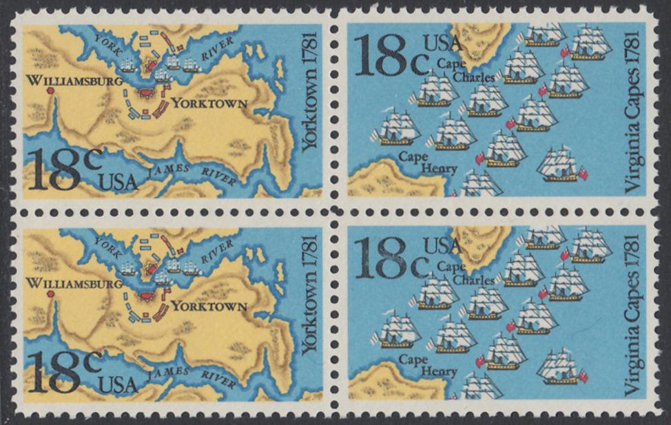 USA Michel 1511-1512 / Scott 1937-1938 postfrisch BLOCK - 200. Jahrestag der Schlachten von Yorktown und vor der Chesapeake Bay 0