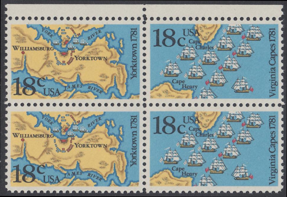 USA Michel 1511-1512 / Scott 1937-1938 postfrisch BLOCK RÄNDER oben - 200. Jahrestag der Schlachten von Yorktown und vor der Chesapeake Bay 0