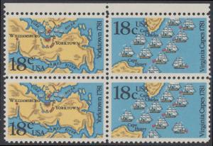 USA Michel 1511-1512 / Scott 1937-1938 postfrisch BLOCK RÄNDER oben - 200. Jahrestag der Schlachten von Yorktown und vor der Chesapeake Bay