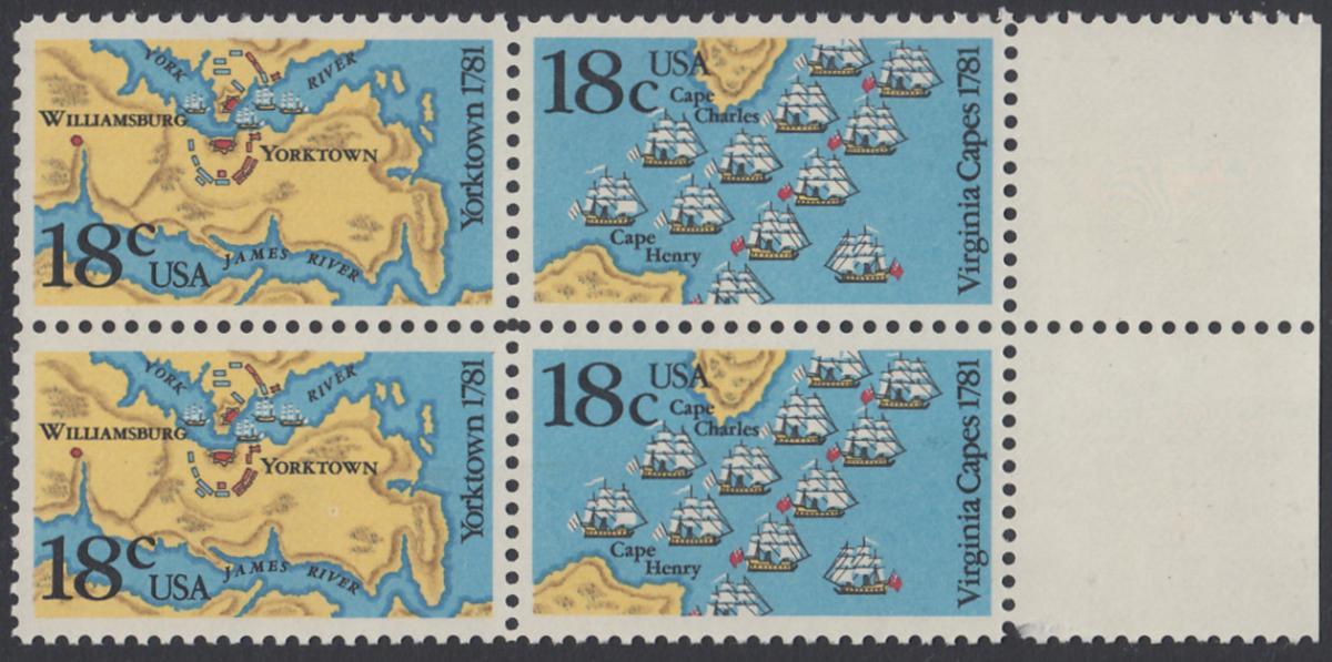 USA Michel 1511-1512 / Scott 1937-1938 postfrisch BLOCK RÄNDER rechts - 200. Jahrestag der Schlachten von Yorktown und vor der Chesapeake Bay 0