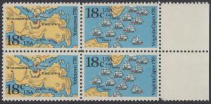 USA Michel 1511-1512 / Scott 1937-1938 postfrisch BLOCK RÄNDER rechts - 200. Jahrestag der Schlachten von Yorktown und vor der Chesapeake Bay