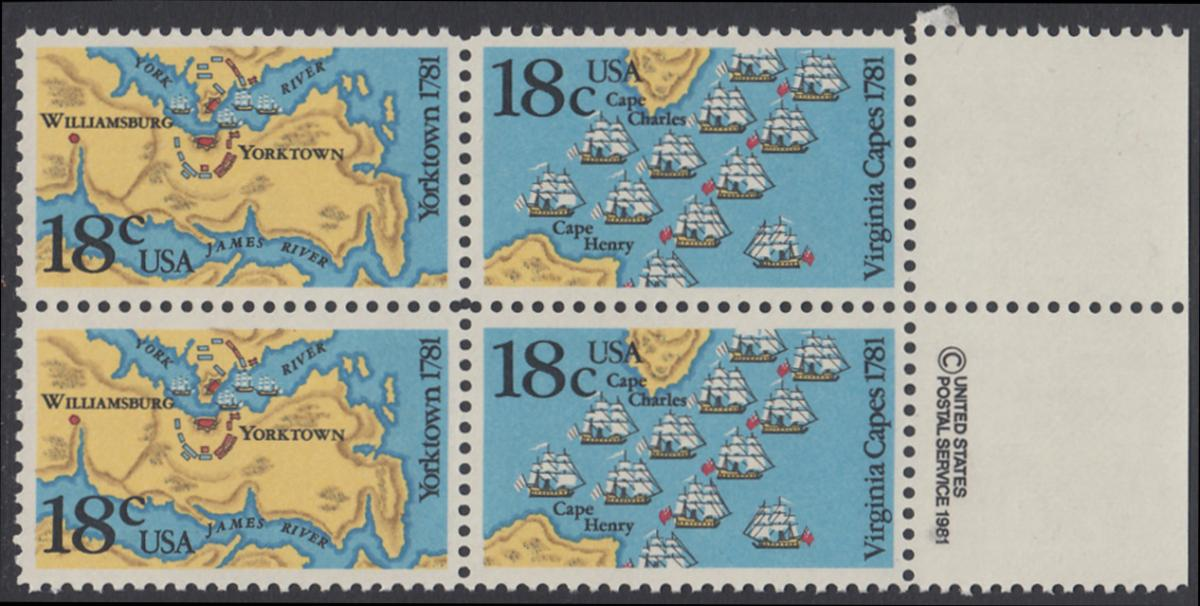 USA Michel 1511-1512 / Scott 1937-1938 postfrisch BLOCK RÄNDER rechts m/ copyright symbol - 200. Jahrestag der Schlachten von Yorktown und vor der Chesapeake Bay 0