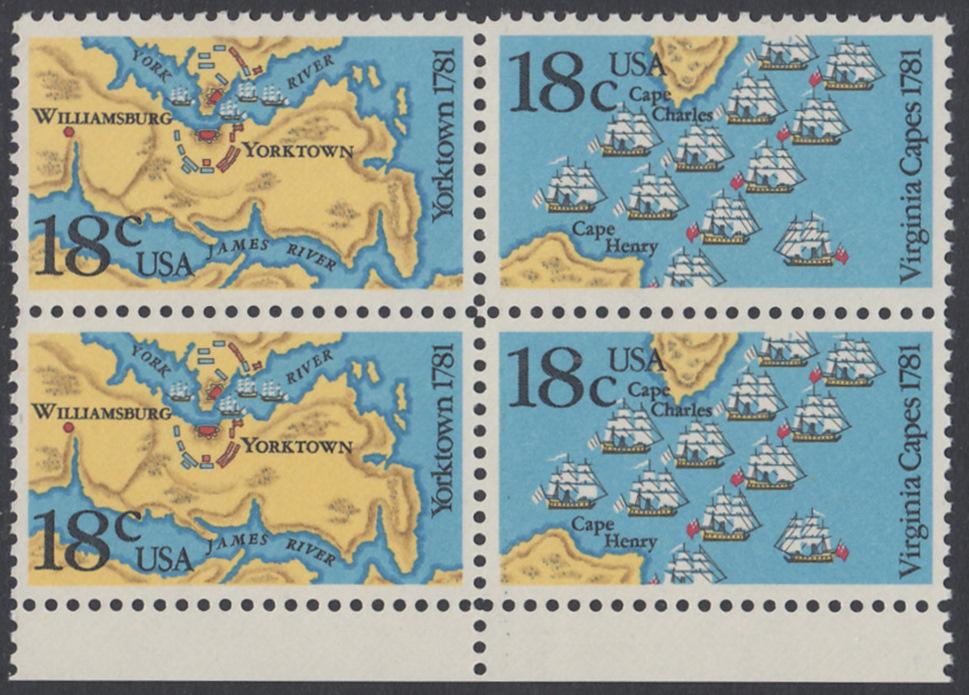 USA Michel 1511-1512 / Scott 1937-1938 postfrisch BLOCK RÄNDER unten - 200. Jahrestag der Schlachten von Yorktown und vor der Chesapeake Bay 0