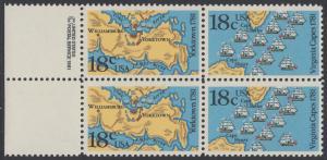 USA Michel 1511-1512 / Scott 1937-1938 postfrisch BLOCK RÄNDER links m/ copyright symbol (a1) - 200. Jahrestag der Schlachten von Yorktown und vor der Chesapeake Bay