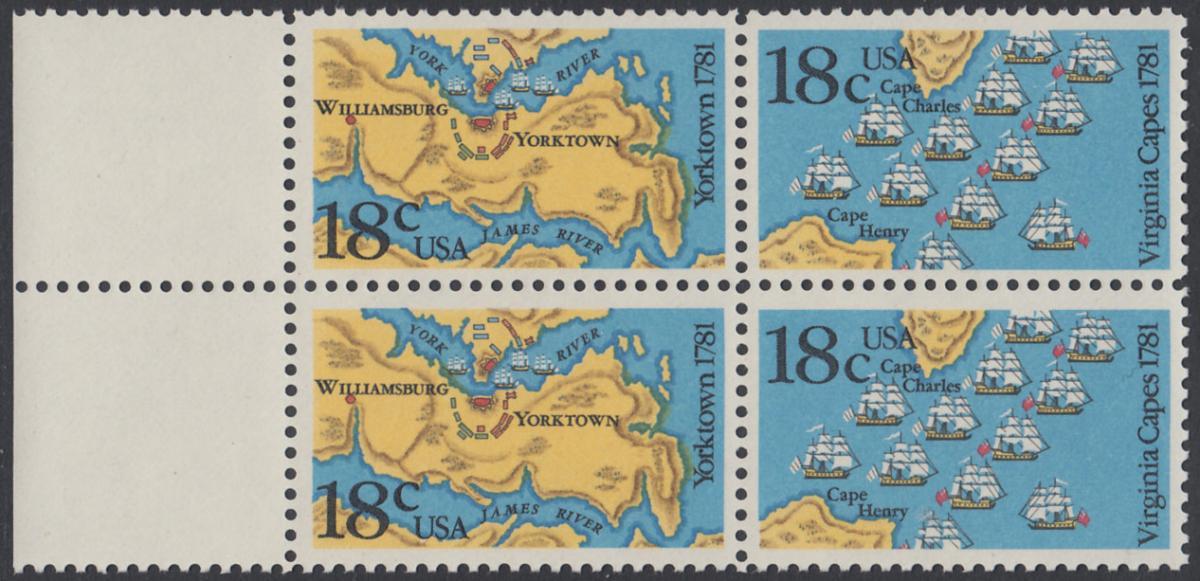 USA Michel 1511-1512 / Scott 1937-1938 postfrisch BLOCK RÄNDER links - 200. Jahrestag der Schlachten von Yorktown und vor der Chesapeake Bay 0