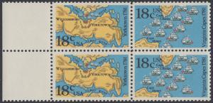 USA Michel 1511-1512 / Scott 1937-1938 postfrisch BLOCK RÄNDER links - 200. Jahrestag der Schlachten von Yorktown und vor der Chesapeake Bay