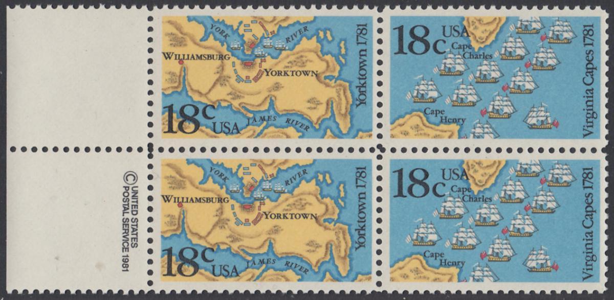 USA Michel 1511-1512 / Scott 1937-1938 postfrisch BLOCK RÄNDER links m/ copyright symbol (a2) - 200. Jahrestag der Schlachten von Yorktown und vor der Chesapeake Bay 0