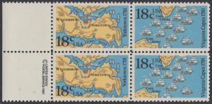 USA Michel 1511-1512 / Scott 1937-1938 postfrisch BLOCK RÄNDER links m/ copyright symbol (a2) - 200. Jahrestag der Schlachten von Yorktown und vor der Chesapeake Bay