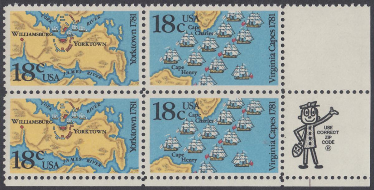 USA Michel 1511-1512 / Scott 1937-1938 postfrisch ZIP-BLOCK (lr) - 200. Jahrestag der Schlachten von Yorktown und vor der Chesapeake Bay 0