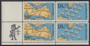 USA Michel 1511-1512 / Scott 1937-1938 postfrisch ZIP-BLOCK (ll) - 200. Jahrestag der Schlachten von Yorktown und vor der Chesapeake Bay