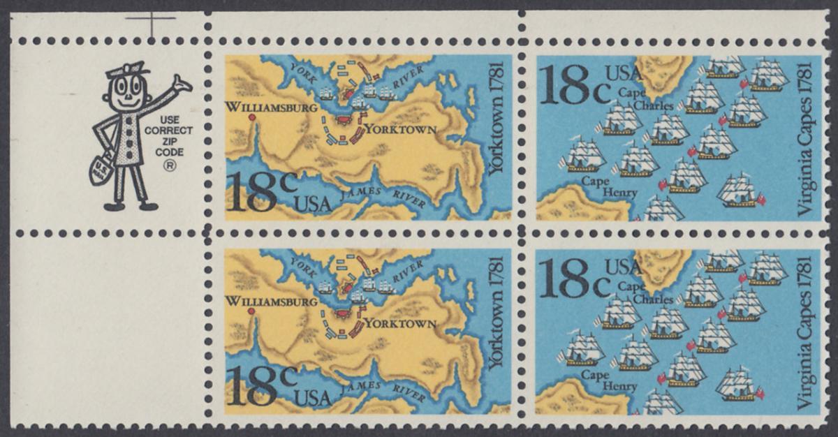 USA Michel 1511-1512 / Scott 1937-1938 postfrisch ZIP-BLOCK (ul) - 200. Jahrestag der Schlachten von Yorktown und vor der Chesapeake Bay 0