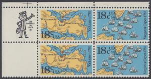 USA Michel 1511-1512 / Scott 1937-1938 postfrisch ZIP-BLOCK (ul) - 200. Jahrestag der Schlachten von Yorktown und vor der Chesapeake Bay