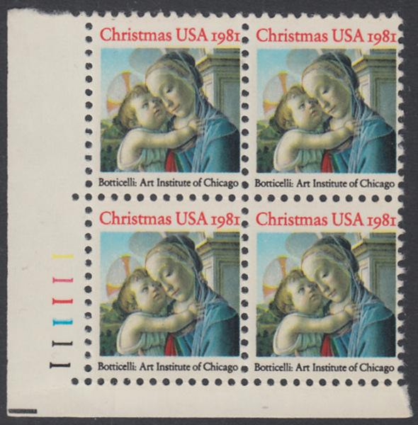 USA Michel 1513 / Scott 1939 postfrisch PLATEBLOCK ECKRAND unten links m/ Platten-# 111111 (a) - Weihnachten: Madonna und Kind 0
