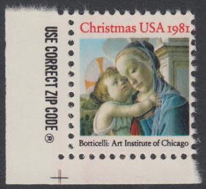 USA Michel 1513 / Scott 1939 postfrisch EINZELMARKE ECKRAND unten links m/ ZIP-Emblem - Weihnachten: Madonna und Kind
