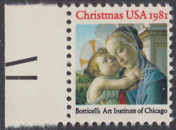 USA Michel 1513 / Scott 1939 postfrisch EINZELMARKE RAND links (a1) - Weihnachten: Madonna und Kind 0