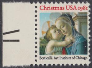 USA Michel 1513 / Scott 1939 postfrisch EINZELMARKE RAND links (a1) - Weihnachten: Madonna und Kind