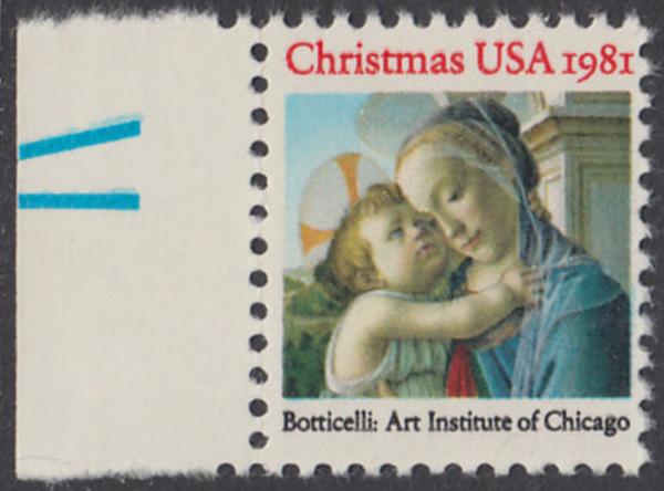 USA Michel 1513 / Scott 1939 postfrisch EINZELMARKE RAND links (a2) - Weihnachten: Madonna und Kind 0