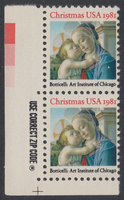 USA Michel 1513 / Scott 1939 postfrisch vert.PAAR ECKRAND unten links m/ZIP-Emblem - Weihnachten: Madonna und Kind 0