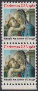 USA Michel 1513 / Scott 1939 postfrisch vert.PAAR RAND unten - Weihnachten: Madonna und Kind