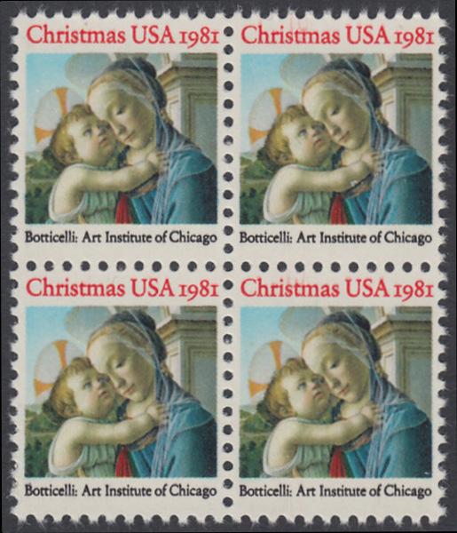 USA Michel 1513 / Scott 1939 postfrisch BLOCK - Weihnachten: Madonna und Kind 0