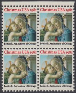USA Michel 1513 / Scott 1939 postfrisch BLOCK RÄNDER oben - Weihnachten: Madonna und Kind
