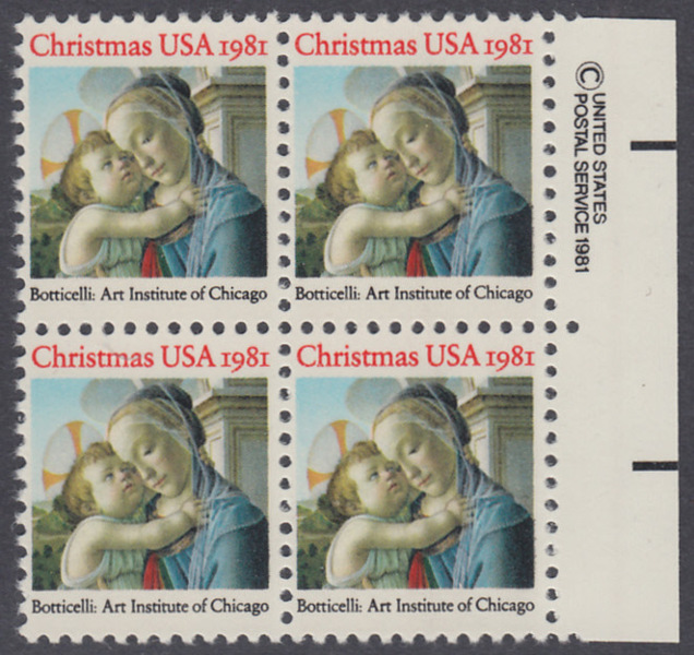 USA Michel 1513 / Scott 1939 postfrisch BLOCK RÄNDER rechts m/ copyright system (a1) - Weihnachten: Madonna und Kind 0