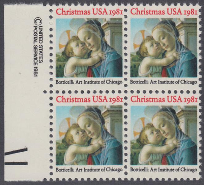 USA Michel 1513 / Scott 1939 postfrisch BLOCK RÄNDER links m/ copyright system (a1) - Weihnachten: Madonna und Kind 0