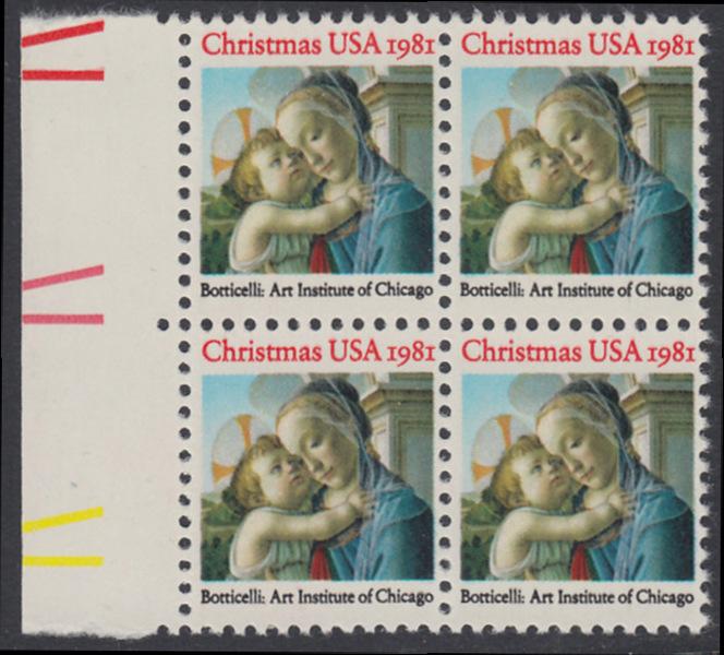 USA Michel 1513 / Scott 1939 postfrisch BLOCK RÄNDER links - Weihnachten: Madonna und Kind 0