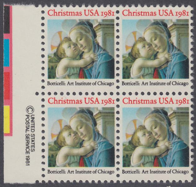 USA Michel 1513 / Scott 1939 postfrisch BLOCK RÄNDER links m/ copyright system (a2) - Weihnachten: Madonna und Kind 0