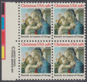 USA Michel 1513 / Scott 1939 postfrisch BLOCK RÄNDER links m/ copyright system (a2) - Weihnachten: Madonna und Kind