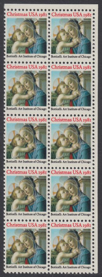 USA Michel 1513 / Scott 1939 postfrisch vert.BLOCK(10) ECKRAND oben rechts - Weihnachten: Madonna und Kind 0