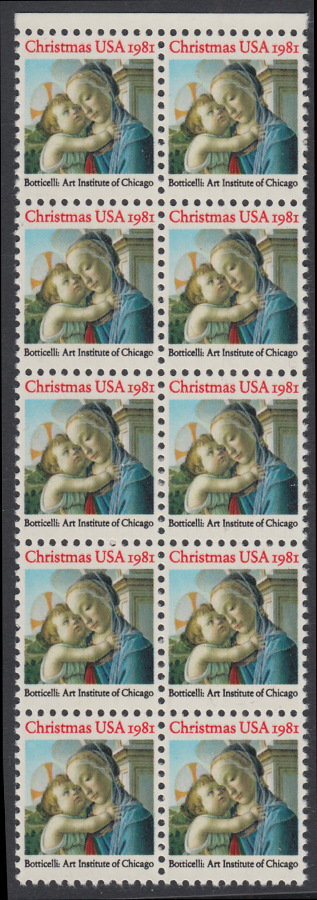 USA Michel 1513 / Scott 1939 postfrisch vert.BLOCK(10) RÄNDER oben - Weihnachten: Madonna und Kind 0