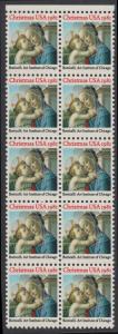 USA Michel 1513 / Scott 1939 postfrisch vert.BLOCK(10) RÄNDER oben - Weihnachten: Madonna und Kind