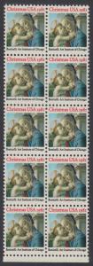 USA Michel 1513 / Scott 1939 postfrisch vert.BLOCK(10) RÄNDER unten - Weihnachten: Madonna und Kind