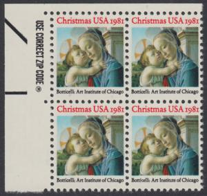 USA Michel 1513 / Scott 1939 postfrisch ZIP-BLOCK (ul) - Weihnachten: Madonna und Kind