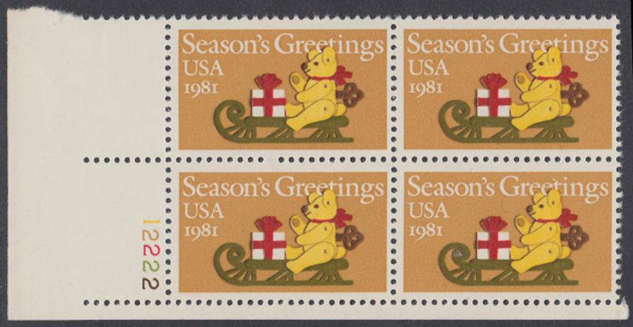 USA Michel 1514 / Scott 1940 postfrisch PLATEBLOCK ECKRAND unten links m/ Platten-# 12222 - Weihnachten: Teddybär auf Schlitten 0
