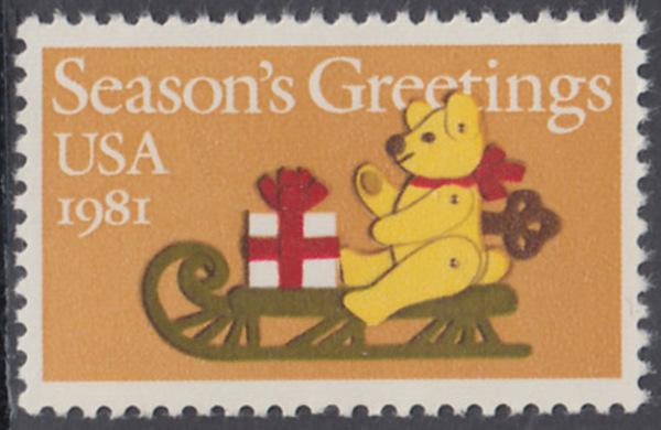 USA Michel 1514 / Scott 1940 postfrisch EINZELMARKE - Weihnachten: Teddybär auf Schlitten 0