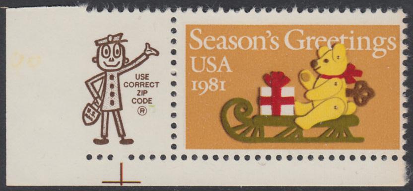 USA Michel 1514 / Scott 1940 postfrisch EINZELMARKE ECKRAND unten links m/ ZIP-Emblem - Weihnachten: Teddybär auf Schlitten 0
