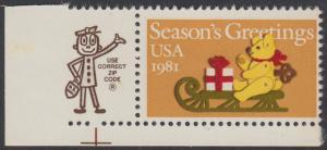 USA Michel 1514 / Scott 1940 postfrisch EINZELMARKE ECKRAND unten links m/ ZIP-Emblem - Weihnachten: Teddybär auf Schlitten