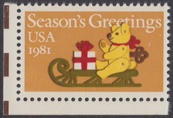 USA Michel 1514 / Scott 1940 postfrisch EINZELMARKE ECKRAND unten links - Weihnachten: Teddybär auf Schlitten 0