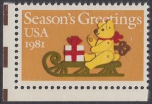 USA Michel 1514 / Scott 1940 postfrisch EINZELMARKE ECKRAND unten links - Weihnachten: Teddybär auf Schlitten