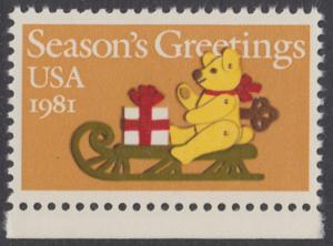 USA Michel 1514 / Scott 1940 postfrisch EINZELMARKE RAND unten - Weihnachten: Teddybär auf Schlitten