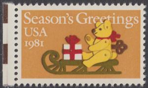 USA Michel 1514 / Scott 1940 postfrisch EINZELMARKE RAND links - Weihnachten: Teddybär auf Schlitten