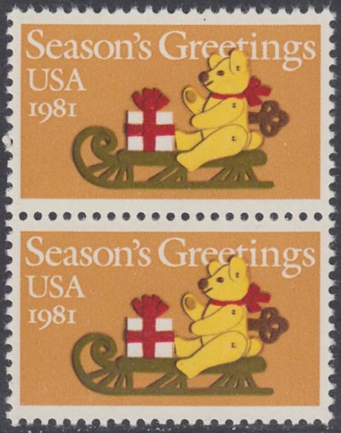 USA Michel 1514 / Scott 1940 postfrisch vert.PAAR - Weihnachten: Teddybär auf Schlitten 0