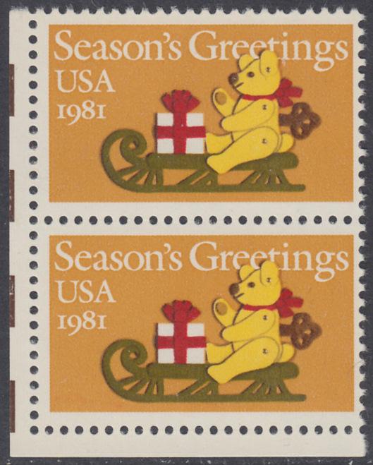 USA Michel 1514 / Scott 1940 postfrisch vert.PAAR ECKRAND unten links - Weihnachten: Teddybär auf Schlitten 0