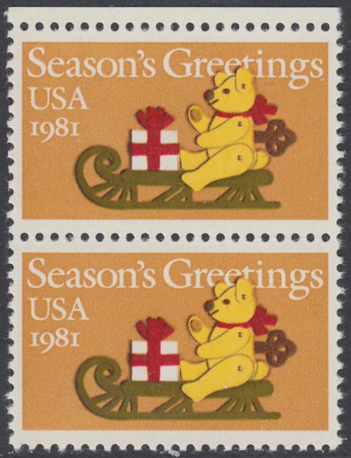 USA Michel 1514 / Scott 1940 postfrisch vert.PAAR RAND oben - Weihnachten: Teddybär auf Schlitten 0