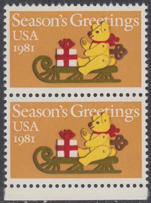 USA Michel 1514 / Scott 1940 postfrisch vert.PAAR RAND unten - Weihnachten: Teddybär auf Schlitten 0