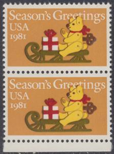 USA Michel 1514 / Scott 1940 postfrisch vert.PAAR RAND unten - Weihnachten: Teddybär auf Schlitten